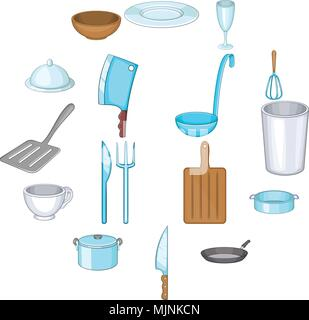 Basic dishes icons set, cartoon style - Stock Photo