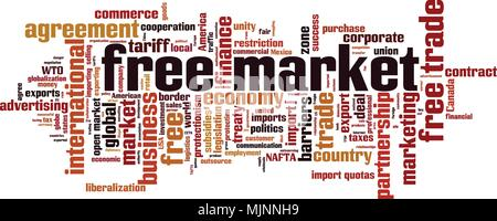 Free market word cloud concept. Vector illustration - Stock Photo