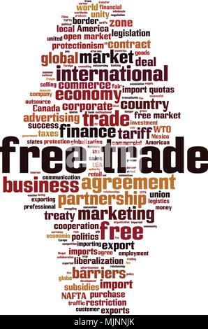 Free trade word cloud concept. Vector illustration - Stock Photo