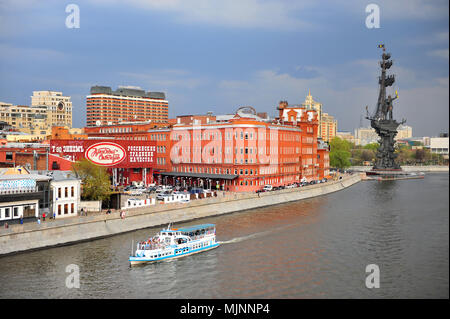 MOSCOW, RUSSIA - APRIL 30: TView of Red October building and Moscow river on April 30, 2018. - Stock Photo