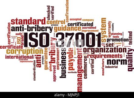 ISO 37001 word cloud concept. Vector illustration - Stock Photo