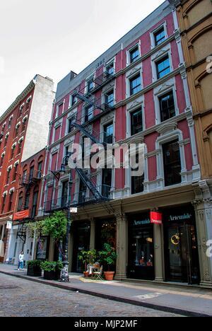 Old tenement buildings in Lower Manhattan, New York - Stock Photo