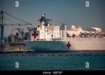The US Naval Hospital Ship 'Mercy' docked in San Diego Naval Station - Stock Photo