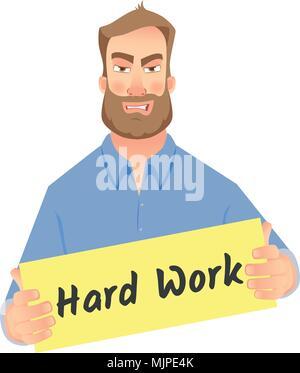 man holding hard work sign - Stock Photo