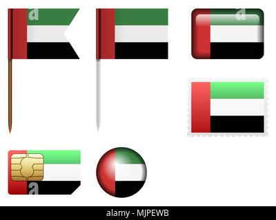 United Arab Emirates flag set on a white background. - Stock Photo
