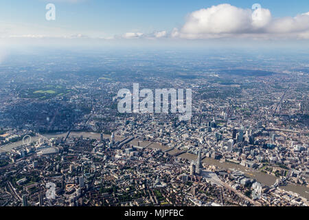 View of central London skyline looking North across the Thames - Stock Photo