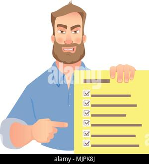 man holding checklist - Stock Photo