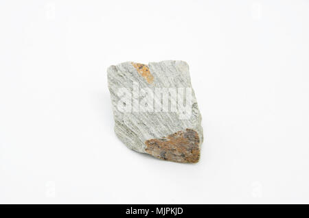 extreme close up with a lot of details of phyllite rock isolated over white background - Stock Photo