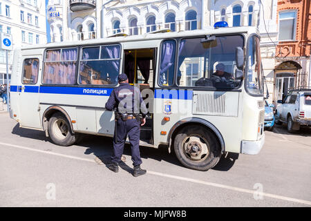 Samara, Russia - May 5, 2018: Police bus for arrested protesters during an opposition rally ahead of President Vladimir Putin's inauguration ceremony Credit: Alexander Blinov/Alamy Live News - Stock Photo
