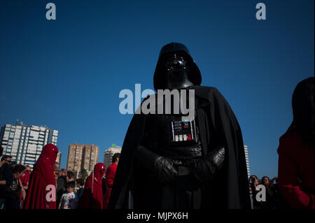 Malaga, Spain. 5th May, 2018. A member of the 501st Legion Spanish Garrison dressed as ''Darth Vader'' from the movie saga Star Wars, performs during a charity parade in favour of bone marrow donation, organized by the Luis Olivares foundation. Hundreds of volunteers from the 501st Legion Spanish Garrison, an association that promote the hobby for the movie Star Wars and contribute in solidarity causes, took the main streets in downtown Málaga with the objective of encourage the bone marrow donation and the fight against cancer. Credit: Jesus Merida/SOPA Images/ZUMA Wire/Alamy Live News - Stock Photo
