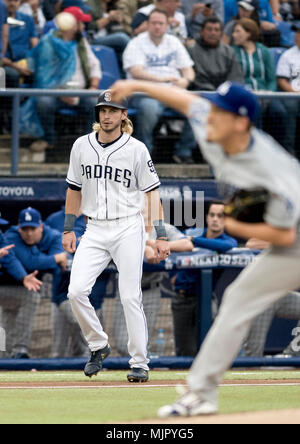 Travis Jankowski of San Diego Padres in action during an MLB baseball game between the Los Angeles Dodgers and the San Diego Padres at Monterrey Stadium in Monterrey, Mexico, 05 May 2018. EFE/Miguel Sierra - Stock Photo