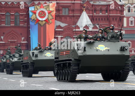 Moscow, Russia. 06th May, 2018. A BTR-MDM Rakushka airborne tracked multipurpose armoured vehicle seen in Moscow's Red Square during a dress rehearsal of the upcoming 9 May military parade marking the 73rd anniversary of the victory in the Great Patriotic War, the Eastern Front of World War II. Sergei Savostyanov/TASS Credit: ITAR-TASS News Agency/Alamy Live News - Stock Photo