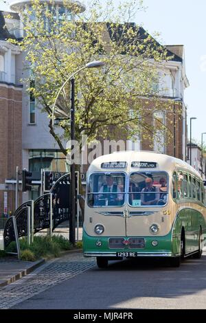 Crawley, UK. 6th May, 2018. A 1959 GUY Arab Coach arrives at Crawley High Street. Crawley's High Street provided the half way stopping point for participants in the 57th Historic Commercial Vehicle London to Brighton run of 2018. Credit: N Pope - Editorial/Alamy Live News. - Stock Photo