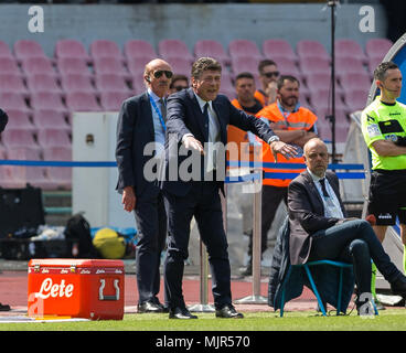 Coach of Torino Walter Mazzarri gestures during the serie A football match between SSC Napoli and Torino at San Paolo Stadium. - Stock Photo