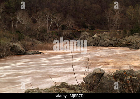 Great Falls of the Potomac as viewed from Great Falls Park in the state of Virginia - Stock Photo