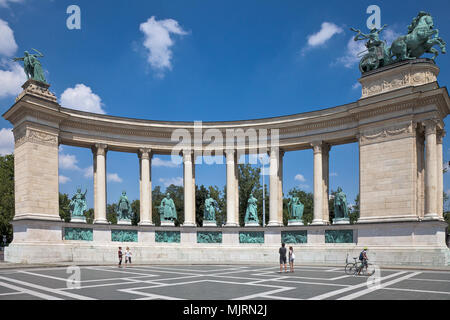 Statues of seven kings of Hungary stand in the left colonnade of the Millennium Monument in Heroes's Square, Budapest. - Stock Photo