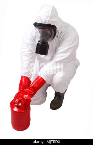 Man in a hazmat suit with red container dangerous material isolated on white - Stock Photo