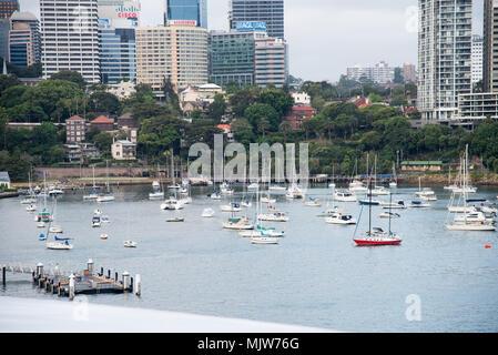 Sydney,NSW,Australia-December 7,2016: Variety of sailboats anchored in marina with urban architecture in Sydney, Australia - Stock Photo