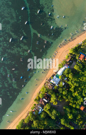 Aerial view of Sanur beach, Bali, Indonesia. top view - Stock Photo