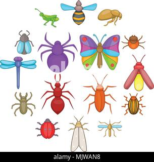 Insects icons set, cartoon style - Stock Photo