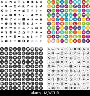 100 luggage icons set vector variant - Stock Photo