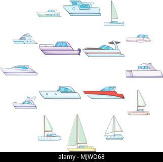Yachts icons set, cartoon style - Stock Photo