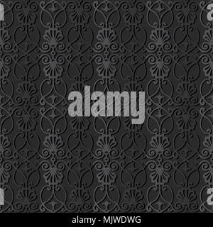 3D dark paper art Botanic Curve Cross Leaf Flower, Vector stylish