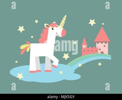 unicorn near the castle - Stock Photo
