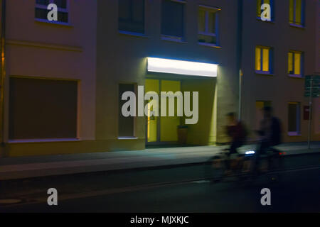 Frankfurt in Oder. Residential areas in evening, street lights, deserted streets, night city, unfrequented street, bedroom suburb - Stock Photo