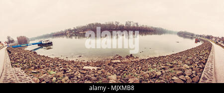 Waterfront in Szentendre, Hungary. Seasonal panoramic photo. Travel destination. Old photo filter. - Stock Photo