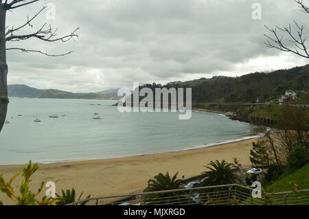 Magnificent Views Of The Beach From Its Highest Point In The Fortified Town Of Getaria. Nature Middle Ages Travel. March 26, 2018. Getaria Guipuzcoa B - Stock Photo