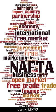 NAFTA word cloud concept. Vector illustration - Stock Photo
