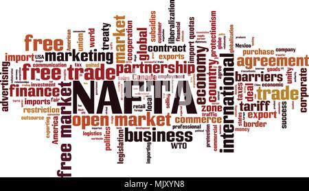 NAFTA word cloud concept. Vector illustration - Stock Photo