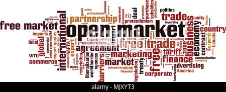 Open market word cloud concept. Vector illustration - Stock Photo