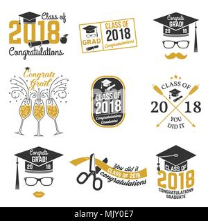 Set of Class of 2018 badges. Concept for shirt, print, seal, overlay or stamp, greeting, invitation card. Vector illustration - Stock Photo
