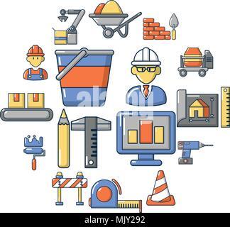 Building process icons set, cartoon style - Stock Photo
