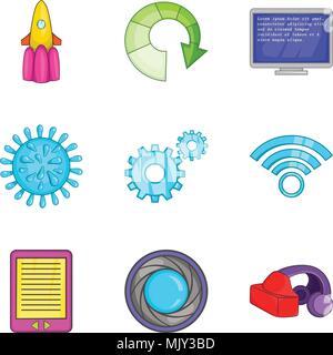 Cordless telephone icons set, cartoon style - Stock Photo