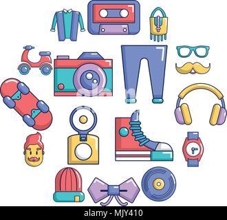 Hipster symbols icons set, cartoon style - Stock Photo