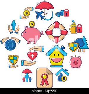 Insurance icons set, cartoon style - Stock Photo