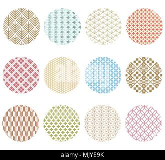 Japanese pattern vector. Colorful pastel geometric background for greeting card, poster, wallpaper, backdrop, template. - Stock Photo