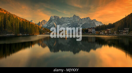 Lake Misurina  is the largest natural lake of the Cadore and it is 1,754 m above sea level, near Auronzo di Cadore (Belluno).