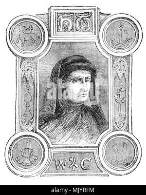 An ornate portrait of William Caxton (1412-1493) who set up the first printing press in England in 1472. He was born in Kent and after schooling spent many years in Bruges and Holland, rising to an eminent position among his fellow merchants. He went to Cologne and embraced the new technique of printing and acquired a press in order to publish his translations of various French books. Bringing his press to England he rented premises at the sign of the Red Pale in Westminster. Between 1473 and his death in 1492, he published a hundred books. - Stock Photo