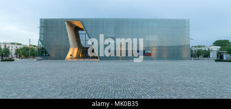 Warsaw, Poland - May 03, 2108: Exterior of the Museum of the History of Polish Jews at Dusk, - Stock Photo