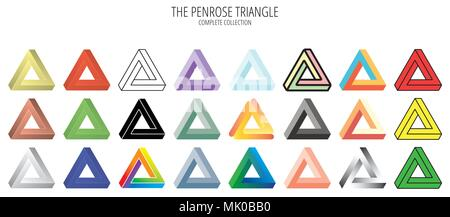 Penrose impossible triangle collection - Stock Photo
