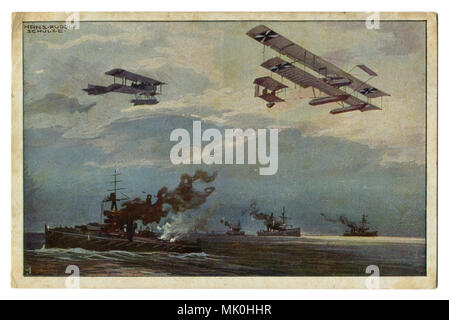 Old postcard: German military aircraft over the British fleet. Airplanes over warships. The first world war of 1914-1918, Western front, wwi - Stock Photo