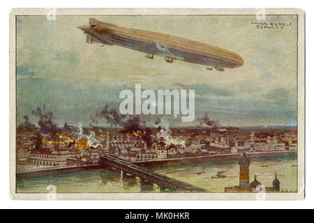 Old German postcard: huge Zeppelin airship flies over the city of Warsaw. Bombing. Fires. On the background river, bridge and Church, first world war - Stock Photo
