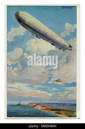 Old German postcard: A huge Zeppelin airship flies over the coast of the sea against the background of a warship and aircraft, first world war 1914-18 - Stock Photo