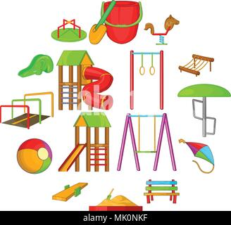 Playground icons set, cartoon style - Stock Photo