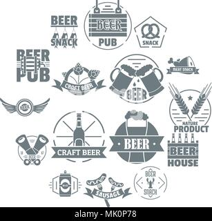 Beer alcohol logo icons set, simple style - Stock Photo