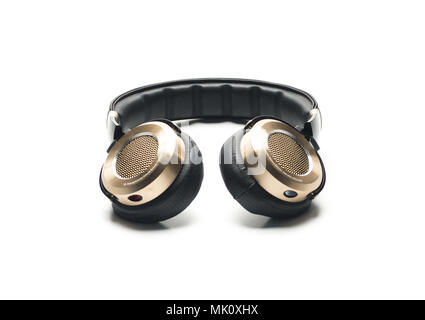 Black Headphones Isolated on White Background, with gold color and lether material. - Stock Photo